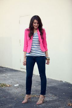 LOVE a good blazer...and this pop of color....ah, awesome    & those stripes..    want.