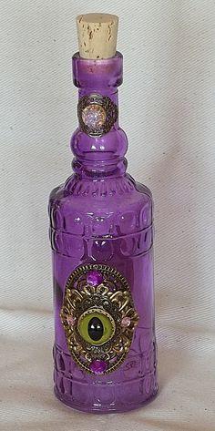 Cylindrical Purple Glass Djinn Bottle