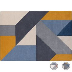 Holden Large Geometric Hand Tufted Wool Rug 160 x 230cm, Tonal Blue from Made.com. NEW Express delivery. Almost like a puzzle, these pleasing shapes..
