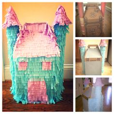 I made a princess piñata for $3! Spare boxes, pool noodles, masking tape, Modge Podge, and crape paper :)