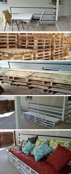 Pallet Patio Furniture  |  DIY Patio Furniture  |  Reusing Pallets