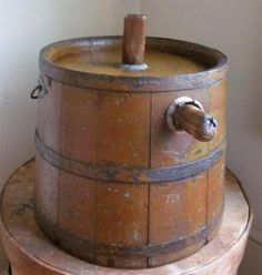 Early Primitive Shaker Wooden Spouted Bucket In Old Pumpkin Paint