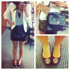 Ootd: frivolous fringe. Sporting a @Laura Jayson Theisen leather fringe skirt, a #jcrew tee, a #forever21 blazer, @Diana Avery flats, #stelladot necklace and a vintage #coach bag.  #vintage #leather #fringe #edgy #style #fashion #stelladot #stelladotstyle #ootd #outfit #outfitoftheday #wiw #wiwt #whatiwore #currentlywearing #instaoutfit #instafashion