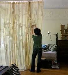 ann wood, closet doors, vintage lace, lace curtains, door headboards