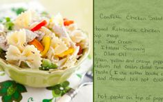 Paula Deen's Confetti Chicken Salad.  Uses rotisserie chicken.