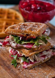 Leftover Turkey Cranberry Waffle Sandwiches