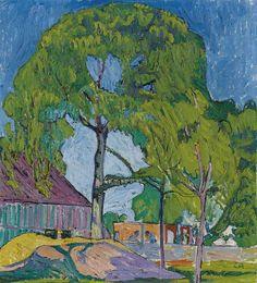 Cuno Amiet (Swiss, 1868-1961), Hausbau II, 1908. Oil on canvas, 60 x 55cm.