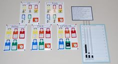 I did my chores chart - something like this, only with photos, magnetic, movable with numbered sequence...
