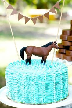 Ruffle cake at a Vintage Cowboy and Cowgirl Party with Lots of REALLY CUTE IDEAS via Kara's Party Ideas KarasPartyIdeas.com #WesternParty #CowboyParty #CowgirlParty #TwinsParty #cake