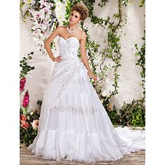 Ball Gown Sweetheart Strapless Chapel Train Beading Wedding Dress – USD $ 599.99