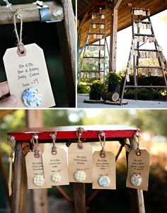 using an old ladder for place cards -- great idea