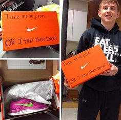 Take me to prom? Or I'll take these back! Lol great way to ask a girl to prom for all you shoe lovers!