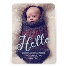 """A fun and whimsical design in baby blue sends greetings of your big news to family and friends with a big """"Hello"""". A modern, lovely keepsake to introduce your sweet baby boy to the world. Features lovely cursive typography and two large photos of your baby - one on the front and one on the back. #baby #birth #announcement #photo #two #photo #boy #blue #cursive #hello #welcome #modern #simple #neutral #white #front #and #back #large #photo #contemporary #simplicity #casual #typography #bold"""