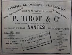 Nantes. Publicité P. Tirot & Cie Fabrique de conserves alimentaires, sardines et spécialité de conserves d'asperges. 1882.