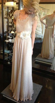Bohemian knit wedding dress and hooded bolero by TheGreenBrideCo, $700.00