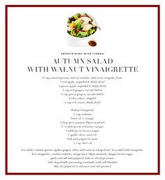 Autumn Salad autumn salad, walnuts, ivanka trump, salads, vinaigrette, ivanka autumn, walnut vinaigrett