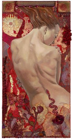 Red Root - © 2009 Jo Jayson oil and collage on canvas available as prints, cards, silk scarves - ALL RIGHTS RESERVED - permission for usage to be requested. For prices and products go to http://www.zibbet.com/JoJaysonArt