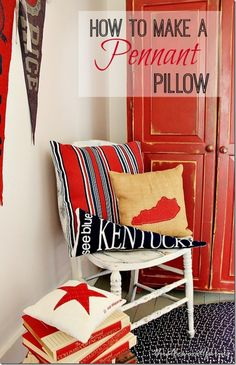 Show some team spirit with this project.  Make a pennant pillow.  Perfect for teams and party decor!  thistlewoodfarms.com