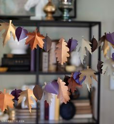 MORE Wreath views.... Create this awesome Fall Wreath - thanks to Lia leaf wreath, craft, fall leaves, leaf garland, printable templates, autumn, paper leaf, garlands, diy