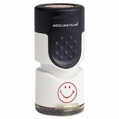 """Accustamp Accustamp Pre-Inked Round Stamp with Microban, Smiley, 5/8"""" dia., Red (COS030725)"""