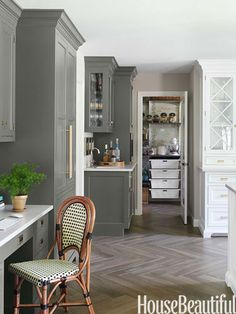 Classic grey and white painted kitchen. #Kitchen of the Month, December/January 2014. Design: Caitlin Wilson. Kitchen Cabinets