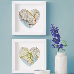 Love where you live! Give the gift of travel art by recycling a memorable map into wall art.