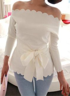 fashion, style, cloth, dress, white shirts, wave, bow, scallop, summer top