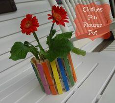 Clothes Pin Flower Pot via www.jmanandmillerbug.com