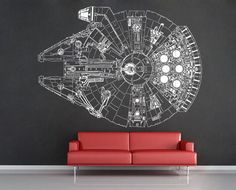 Star Wars Millennium Falcon V.3 Vinyl Wall Art Decal (WD-0299)