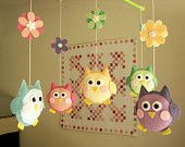 "Baby crib mobile, owl mobile ""Cute owl - Rainbow"" --  Free Music Box"