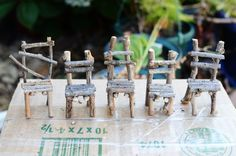 Twig fairy garden chair tutorial ********************************************* oneinchworld - #miniature #miniatures #fairy #garden #gardens #crafts #DIY #whimsical #whimsy #twig #chair #chairs - tå√