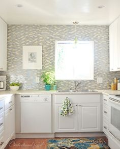ceramic tile backsplash called misty seaglass with shades of