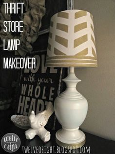 twelveOeight: Gold Herringbone To The Rescue: A Thrift Store Lamp Rescue