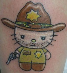 The Walking Dead's Rick Grimes never looked so adorable. #InkedMagazine #HelloKitty #cute #girly #tattoo #tattoos #WalkingDead #TheWalkingDead #RickGrimes