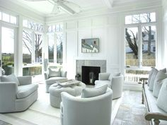 White living room Hamptons Water Mill estate furniture layout