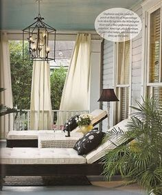 Flow of the white drapes....blue ceiling, great chaises  // Great Gardens & Ideas //