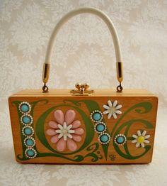 Vintage ENID COLLINS LOVE Original Wooden Box Bag Purse Texas 1960s