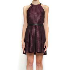 Halter Dress Black Pink