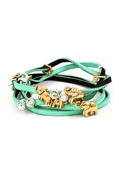 Elephant Charm Bracelet in Turquoise