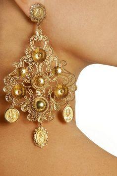 Dolce & Gabbana|Filigrana gold-plated chandelier clip earrings