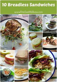 10 breadless sandwich ideas! BiteSizeWellness.com