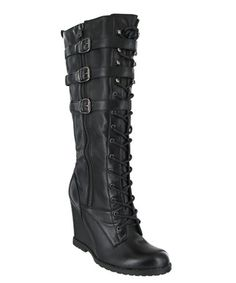 Black Ursela Wedge Boot by MIA Shoes #zulily