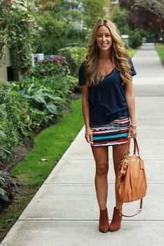 Wearing Stylemint Tee|Skirt c/o Beginning Boutique| Bracelets c/o Lauren Elan|Coach Bag|Zara Boots
