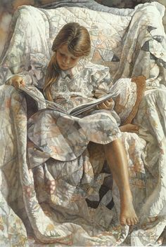 """ A Favorite Book"" Watercolor by Steve Hanks"