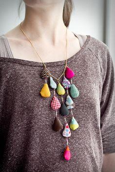 drops. fashion, crafti, cloth, accessori, drop, bijoux, necklac, fabric, diy