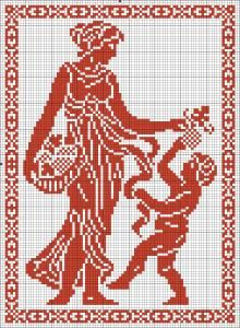 The Four Seasons - Autumn | Chart for cross stitch or filet crochet.