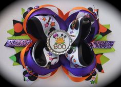Mickey and Minnie Mouse Halloween Hair Bow