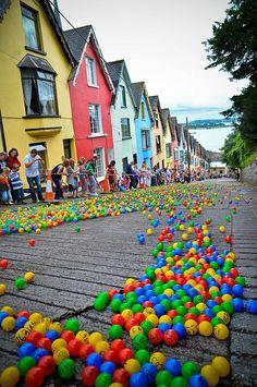 hill, ball roll, balls, ireland, color