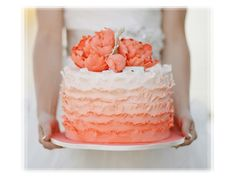 Ombre ruffled wedding cake