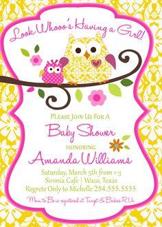 Owl Baby Shower Invitation-Digital File Only. $18.00, via Etsy.